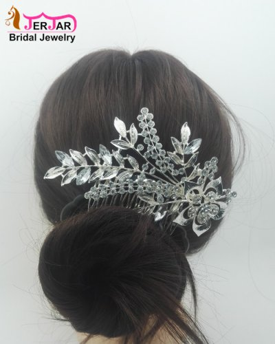 Luxury Bridal Hair Comb Elegant Women Wedding Headpiece Bridesmaid Silver Hair Jewelry Crytals Hair Ornament Accessories for Party Prom