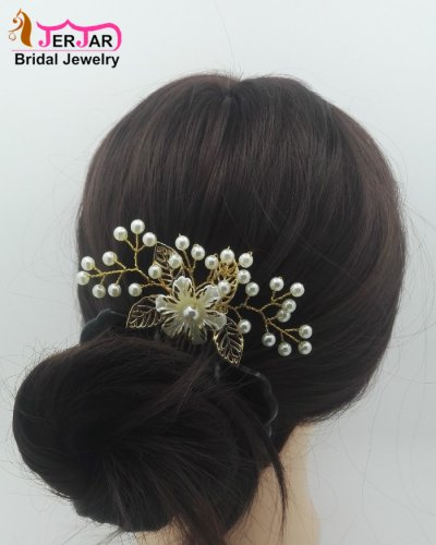 Luxury Wedding Bridal Hair Comb Ornately Headpiece Elegant Women Golden Hair Jewelry Fashion Bridesmaid Pearls Hair Ornament Accessories