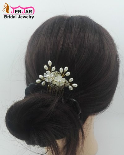 Gorgeous Wedding Bridal Hair Combs Women Hair Jewelry Fashion Exquisite Golden Headpiece Bridesmaid Pearls Hair Ornament Accessories