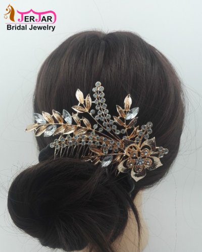 Luxury Bridal Hair Comb Rose Gold Hair Jewelry Elegant Women Wedding Headpiece Bridesmaid Crytals Hair Ornament Alloy Accessories for Party Prom