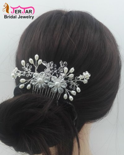 Wedding Bridal Hair Combs Exquisite Women Crystals Hair Jewelry Flower Silver Headpiece Gorgeous Bridesmaid Pearls Hair Ornament Accessories