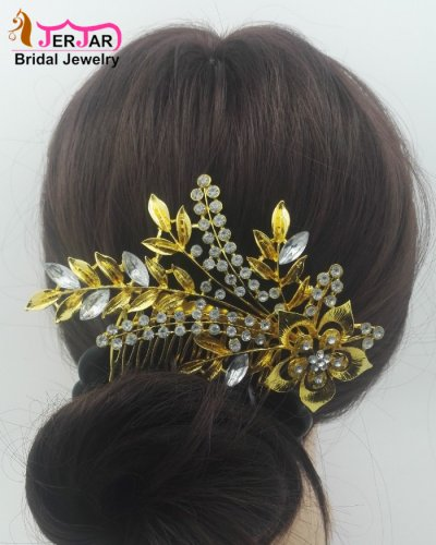 Luxury Bridal Hair Comb Elegant Women Wedding Headpiece Bridesmaid Golden Hair Jewelry Crytals Hair Ornament Accessories for Party Prom