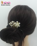 Gorgeous Wedding Bridal Hair Combs Elegant Women Hair Jewelry Luxury Golden Flower Headpiece Pearls Bridesmaid Hair Ornament Accessories