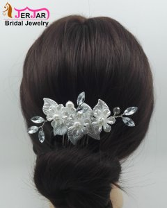 Bridal Silver Hair Jewelry Fashion Hair Combs Women Headpiece Wedding Headwear Accessories Luxury Party Pearls Hair Ornaments