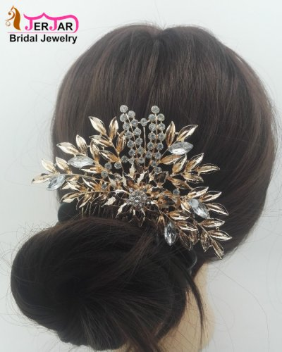 Delicated Bridal Hair Comb Elegant Women Wedding Headpiece Bridesmaid Rose Gold Hair Jewelry Luxury Crytals Hair Ornament Accessories for Prom