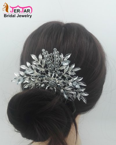 Luxury Bridal Hair Comb Elegant Women Wedding Headpiece Delicated Silver Hair Jewelry Crytals Hair Ornament Accessories for Party Prom