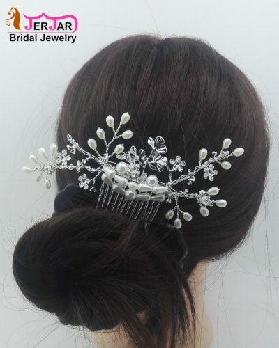 Gorgeous Wedding Bridal Hair Combs Exquisite Women Hair Jewelry Alloy Flower Silver Headpiece Prom Bridesmaid Pearls Hair Ornament Accessories