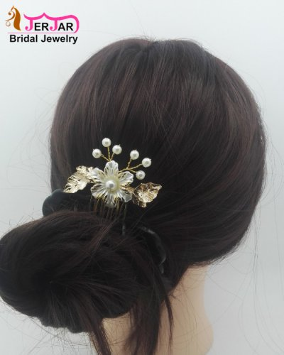 Gorgeous Wedding Bridal Hair Combs Exquisite Women Hair Jewelry Alloy Pearls Golden Headpiece Bridesmaid Hair Ornament Accessories