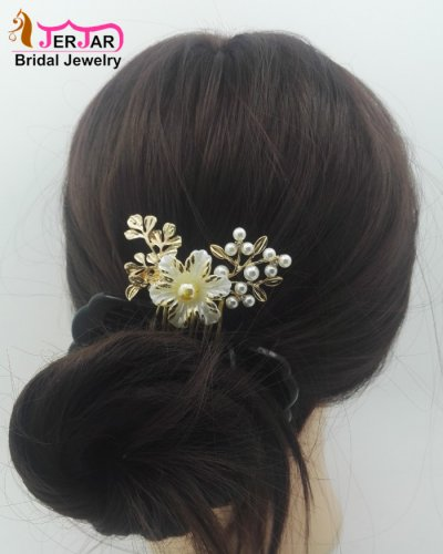 Luxury Wedding Bridal Hair Comb Ornately Headpiece Elegant Women Golden Hair Jewelry Bridesmaid Pearls Hair Ornament Accessories for Party Prom