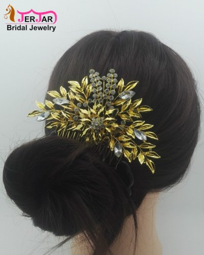 Luxury Bridal Hair Comb Elegant Women Wedding Headpiece Golden Hair Jewelry Crytals Bridesmaid Hair Ornament Accessories for Party Prom